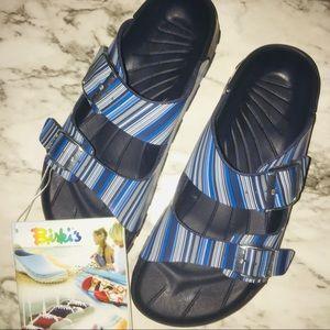 Birki's by Birkenstock blue striped sandals 40